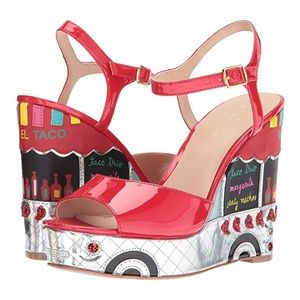😍FOUND RED 😍 KATE SPADE DORA TACO TRUCK WEDGE